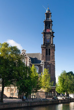 Cityscape Of Amsterdam, Capital Of The Netherlands. Westertoren, Near Anne Frank House.