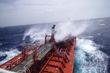 Chemical tanker during bad weather at Atlantic