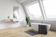 canvas print picture - Attic white bathroom corner, tub and sink