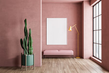 Pink Living Room With Bench, P...