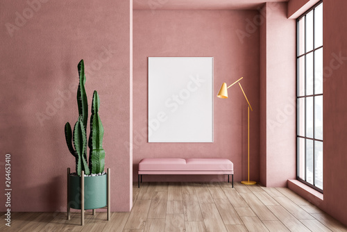 Aluminium Prints Equestrian Pink living room with bench, plant and poster