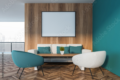 Aluminium Prints Equestrian Blue and wood living room with balcony and poster