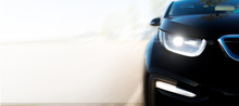 Modern Black Car / White Background Black Car // AUTOMOBILE