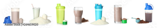 Fotografia Set of different delicious protein shakes on white background