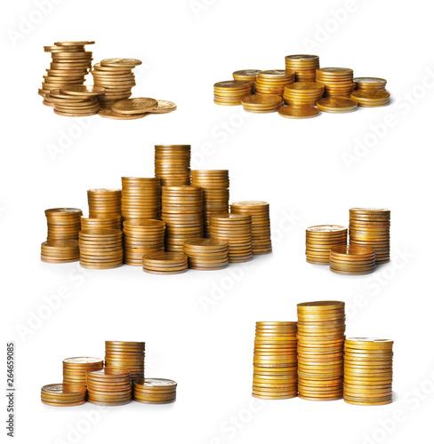 Fototapeta Stacks of coins on white background. Financial concept obraz