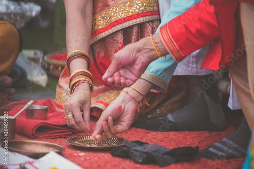 Foto op Canvas Gymnastiek Indian pre wedding ritual pooja items close up