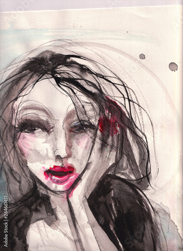 stained lips messy hair art...