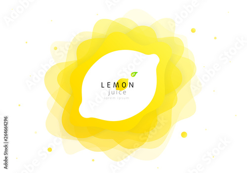 Lemon fruit of abstract shape liquid splash. Fresh juice and flat wave fluid citrus lemonade. Modern vector illustration design layout - 264664296
