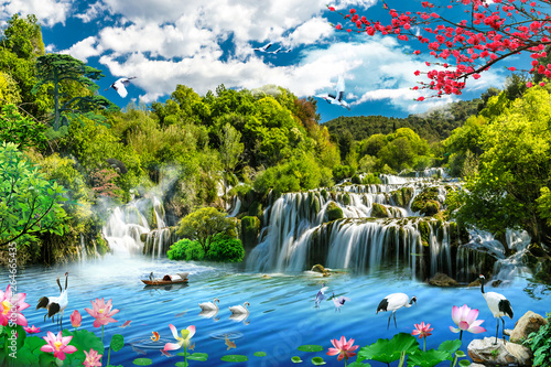 Tuinposter Watervallen 3d wallpaper lake and sea or waterfall