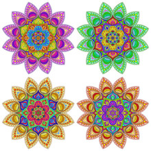 A Set Of Colorful Mandalas On ...