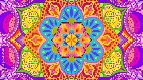 Stampa su Tela  Background with a symmetrical colorful pattern, Indian pattern, oriental pattern