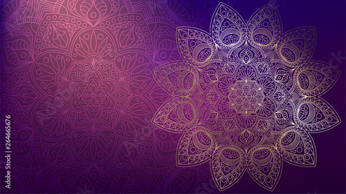 Fototapeta Background with golden mandalas, round indian pattern, muslim pattern obraz