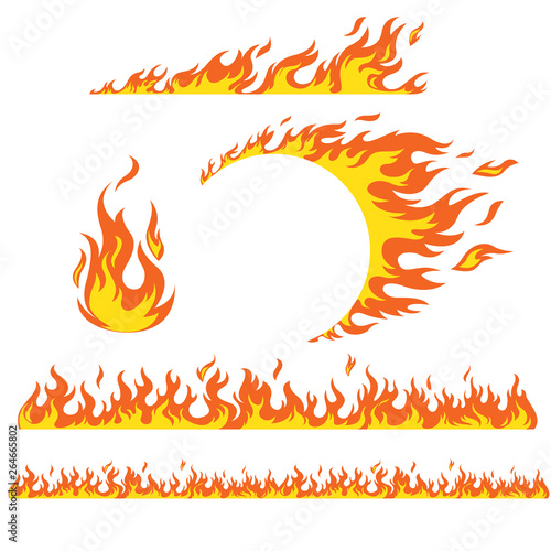 Photo Set of flame elements on a white background, fire