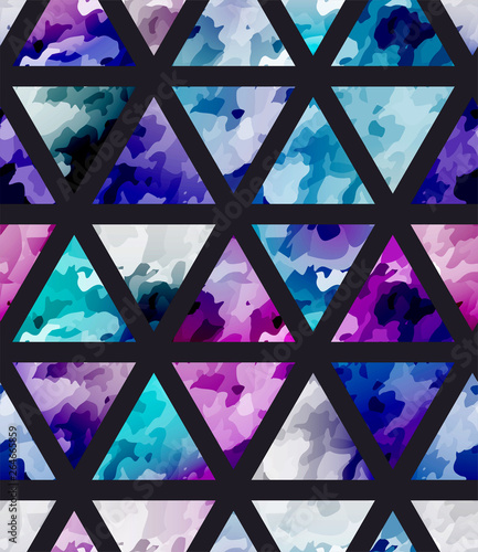 obraz dibond Seamless purple watercolor pattern with triangle. Bright cosmos mosaic background