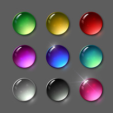 Set Of Vector Round Gems. Jewelery, Shining Stones. Round Glass Buttons.
