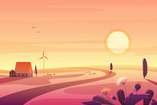Solar Rural Landscape In Sunset With Hills, Small House, Wind Turbine Vector Illustration.