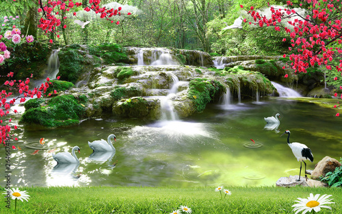 Staande foto Watervallen 3d wallpaper lake and sea or waterfall
