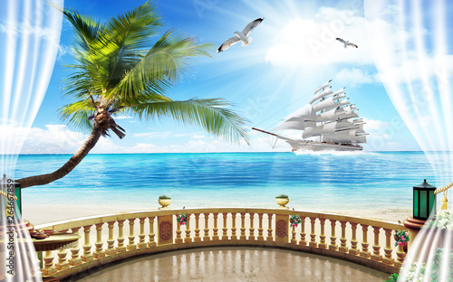 3d wallpaper lake and sea or waterfall Canvas Print