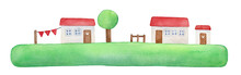 Peaceful Illustration Of Green Grass Island, White Little Houses, Red Roof, Wooden Doors Wih Love Hearts. Bright Handdrawn Watercolour Graphic Drawing, Isolated Clip Art Element For Design Decoration.
