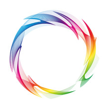 Wave Of Many Colored Lines Circle Frame.  Creative Line Art. Design Elements Created Using The Blend Tool.