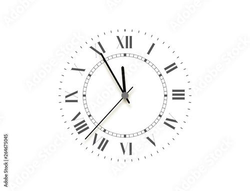 Black face clock, five minutes to midnight Fototapeta
