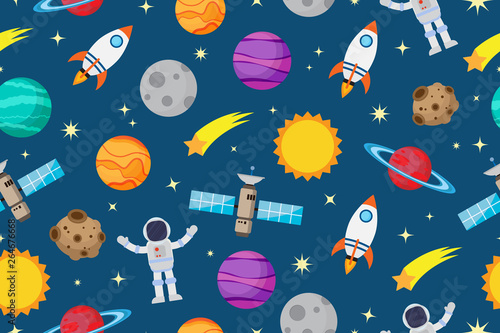Seamless pattern of astronauts and planet in space galaxy background - Vector illustration