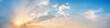 Leinwandbild Motiv Dramatic panorama sky with cloud on sunrise and sunset time. Panoramic image.