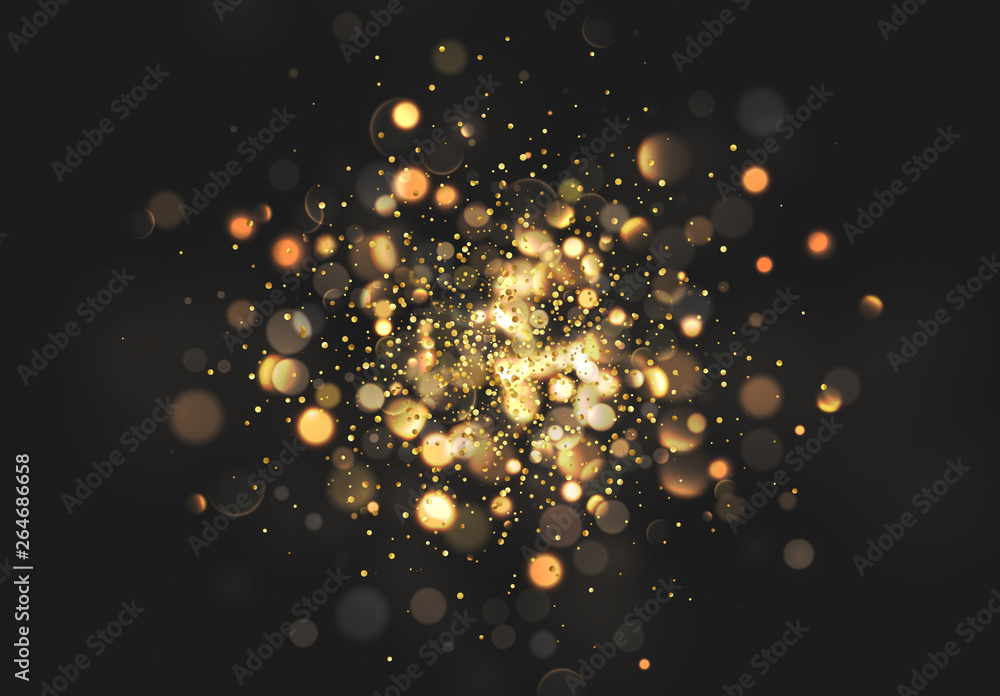 Fototapeta Christmas golden lights. Background of bright glow bokeh