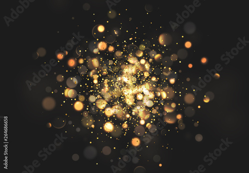 Canvastavla Christmas golden lights. Background of bright glow bokeh