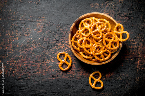 Snacks pretzels in a bowl. Wallpaper Mural
