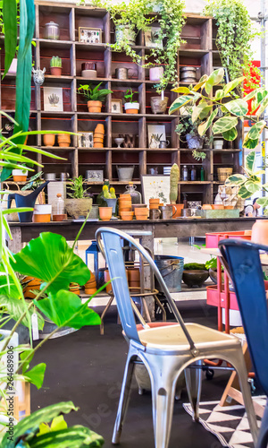 Fotografía  Working space and shelf with garden tools in cozy home garden on summer