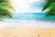 canvas print picture  Sunny tropical Caribbean beach with palm trees and turquoise water, island vacation, hot summer day