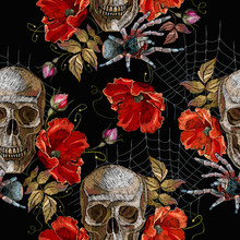 Embroidery Human Skull, Red Poppies And Spider Web Seamless Pattern. Fashionl Dark Gothic Embroidery. Medieval Template For Clothes, Textiles, T-shirt Design