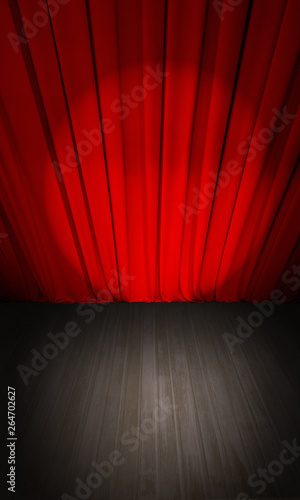 Stampa su Tela  theater red curtain and wooden stage from above view 3d illustration
