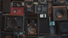 Creative Music Background Made Of Vintage Loudspeakers. Toned Image.
