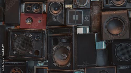 Creative music background made of vintage loudspeakers Canvas Print
