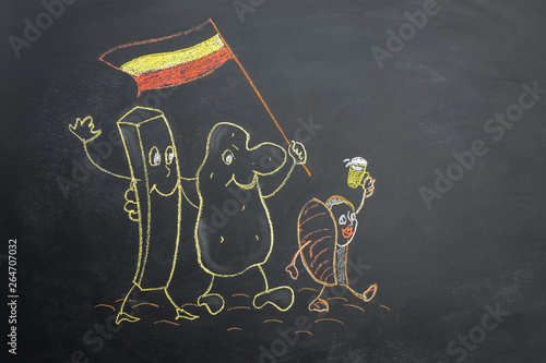 Photo  Funny potato with flag of Belgium and mussel drawn on chalk board