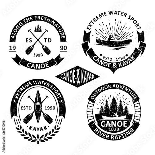 Fotografia Set of vintage canoe badges labels, emblems and logo