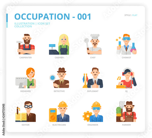 Leinwand Poster Occupation icon set