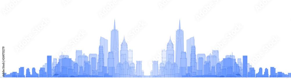 Fototapety, obrazy:  modern city panorama 3d illustration