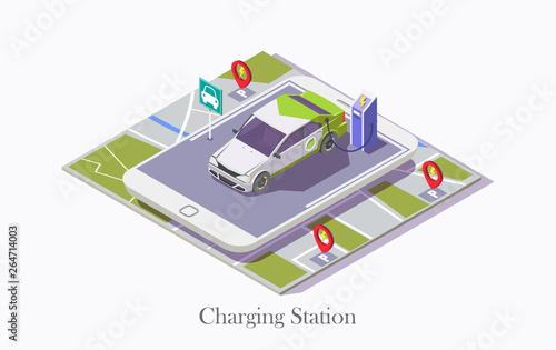 Foto Ev charging station technology vector web banner template
