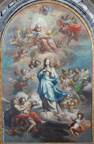 CATANIA, ITALY - APRIL 7, 2018: The painting of Immaculate Conception in church Chiesa di San Benedetto by Sebastiano Lo Monaco (1750 - 1800).
