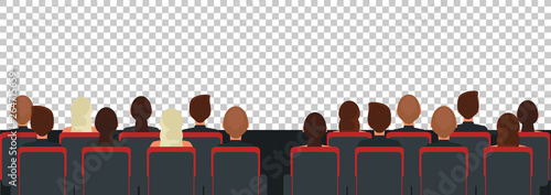 Canvas Cinema, theater audience flat illustration