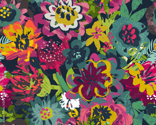Valokuva  Vector seamless pattern with plants, leaves and flower bouquets with hand painted texture