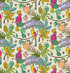 Panel Szklany Zwierzęta Vector seamless pattern with cartoon African animals, jungle plants and trees.