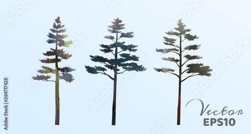 Foto auf Gartenposter Weiß Set of watercolor pine trees . Vector illustration