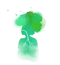 Woman Breathing In A Natural And Healthy Environment Silhouette On Watercolor Background. Her Lungs And Her  Head Are Branches Of A Tree With Flying Birds, Healthy Life Concept
