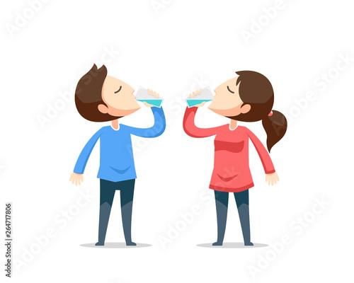 Fotografia Boy and girl drink water. Vector illustration