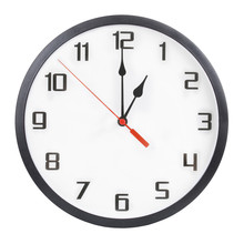 Wall Clock Isolated On White Background. 1 P.m. Or 1 A.m.