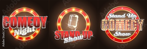 Fotografie, Obraz  Vector set of stand up comedy show retro banners labels